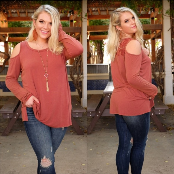 SKYE by Infinity Raine Tops - PLUS Rust Vintage Wash Cold Shoulder Tunic